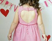 Girl Heart Cut Out Dress - Toddler Heart Cut Out Dress - Toddler Heart Dress - Girls Red Dress- Girls Heart Dress-Toddler Red Dress-RedDress