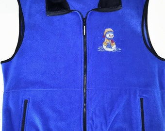 Christmas and Winter SNOWMAN Cross-Stitch Embroidered Royal Blue Fleece Vest- 2X