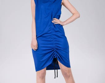 Woman's blue dress / Cotton summer dress / Knee length sleeveless dress / Blue tie summer dress / Fasada 1768