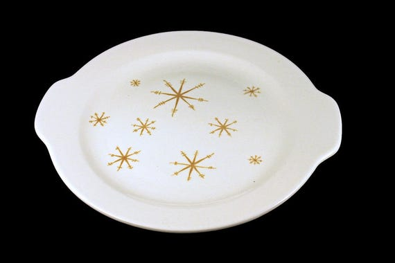 Handled Cake Plate, Royal China (USA), Star Glow, Gold Star Design, White and Gold, Cake Platter
