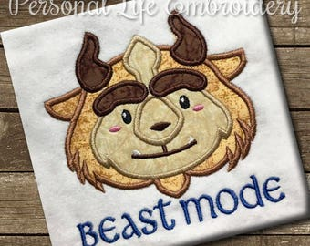 Beast Mode Fairytale Boy Inspired Machine Embroidery Design Digital Applique Pattern INSTANT DOWNLOAD Prince Belle Story Book Graduation