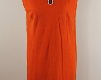 Orange Shift Dress Vintage 70s Sleeveless