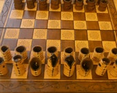 Steampunk leather chess set