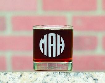 Monogrammed Whiskey Glass. Custom Whiskey Glasses. Custom Rocks Glasses. 11 oz Whiskey Glass. Made in USA.