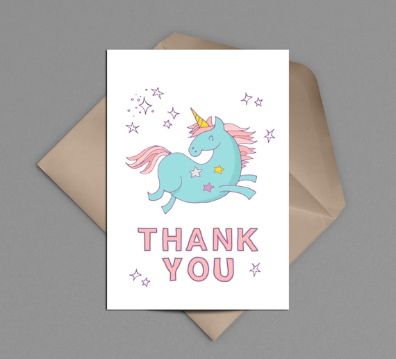 unicorn thank you card printable instant download colorful