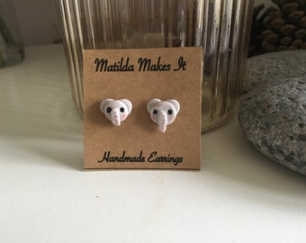 SALE - Handmade Polymer Clay Elephant Earrings