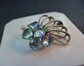 """A beautiful vintage quartz and silver Deco style brooch - 925 - sterling silver - 1.4"""" x 1.1"""""""