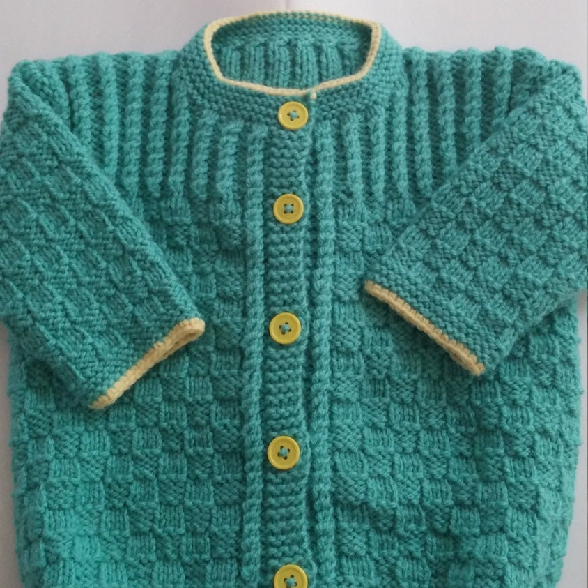 Colorful Boy Baby Sweater Hand Knit 6 9 Month Size Easy