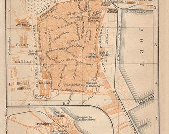 1911 Sousse Tunisia Antique Map