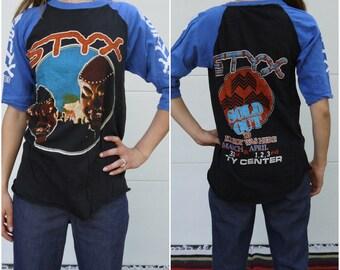 Vintage 1983 Styx Concert Tee Buddha small medium