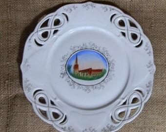 Antique Porcelain Lace Edge Collector Cabinet Plate - Spalding Parish Church, Lincolnshire, England