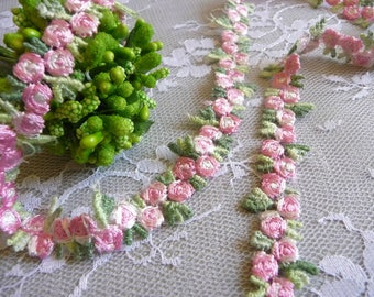 Embroidered Trim Lace Flowers Galloon Pink Roses for Dresses Head Bands Crafts Costumes