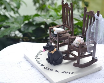 Rocking chairs topper with pet dog. Bouquet and hat. Growing old together. Custom cake topper, custom figurine for wedding or anniversary.
