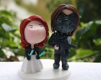 Anti-Hero couple, Assasin and Spy. Wedding figurine. Bride and Groom. Handmade. Fully customizable. Unique keepsake