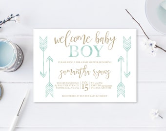 Baby Shower Invitation, Boho Baby Shower Invitations, Boy Baby Shower Invite, Boho Boy Baby Shower Invitation, Welcome Baby Boy, Boho, Arrow