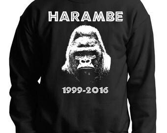 Harambe Sweatshirt Support Harambe Hoodie Harambe the Gorilla Sweater