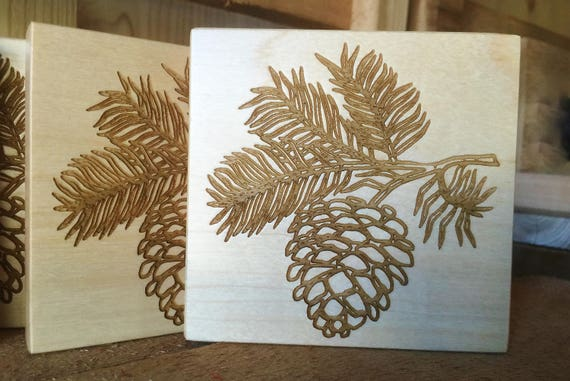 Wooden Coasters with Pinecone Engraved on Maple, Cherry or White Oak Wood. Home Decor-Nature Scene-Housewarming Gift-Bar Decor-Home Bar-