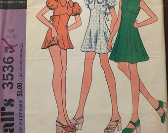 McCalls 3536 - 1970s Raised Waist Mini Dress with Dog Ear Collar Option and Bloomers - Size 7 Bust 31