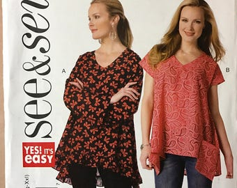 Butterick B6345 - See & Sew Loose Fitting Flared Pullover Top with V Neckline and Pockets - Size 4 6 8 10 12 14 16 18 20 22 24 26