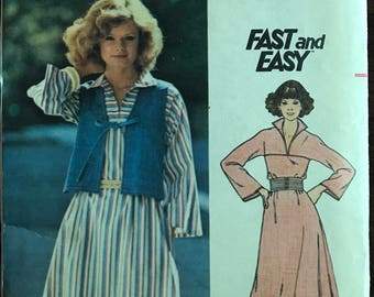 Butterick 4719 - 1970s Fast and Easy Semi Fitted Dress with Standing Collar and Vest with V Neckline - Size 14 Bust 36