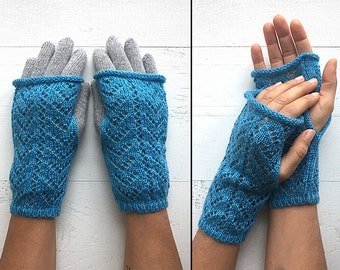 EXPRESS Shipping, Double Layered Gloves, Fingerless Gloves, Two Layered Gloves, Special Gift, Gift For Her, Blue Gloves, Gray Gloves, Mitten