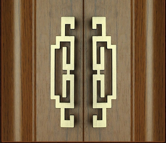 Pair Of Chinese Style Antique Pulls Knobs Symmetry Door