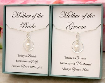 Gifts for Mother of the Bride and Groom Set of 2 necklaces Sterling silver infinity necklaces Swarovski pearls wedding bridal party gifts