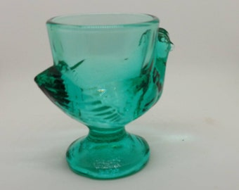 Vintage french  glass - glass chicken egg cup-  various colours