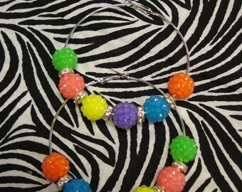 Neon color rainbow basket ball pave hoop earrings