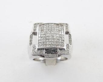 14K White Gold Men's Diamond Ring,  14k White Gold Men's Ring