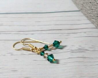 Emerald Green ~ Golden Shadow ~ Swarovski Earrings ~ Swarovski Elements ~ Gold Plated ~ Sparkle Earrings ~ Valentine ~ Mothers Day Gift