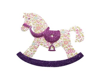 Cute Rocking horse Baby Girl item Iron on Applique Patch Liberty Fabric Liberty Katie and Millie Pink with Glittery Fabrics