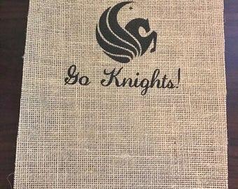 "8.5 x11 ""Go Knights!"" UCF Burlap Print"
