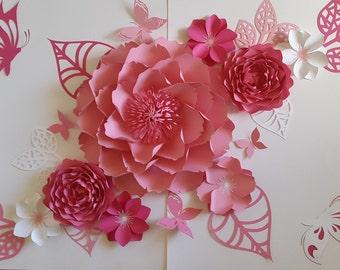Paper flowers backdrop for nursery, Paper flower wall decor, Nursery paper flowers, Nursery decor, Nursery wall art, Baby girl nursey.