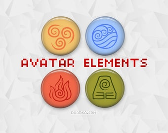 Avatar: The Last Airbender / Legend of Korra Elements - Air, Water, Fire, Earth (Pin-Back Buttons)