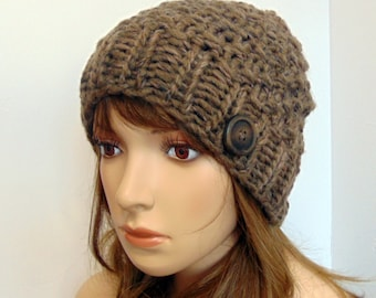 Chunky Knit Hat Alpaca Moss Stitch Beanie Taupe Ombre Brown Tan Soft Wool Women Teen Fall Winter Gift Made in Alaska