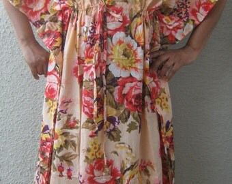 Caftans,Maternity kaftan robe, PEACH, cotton kaftan, feeding gown,hospital gown, maternity robe,delivery gown,floral kaftan,