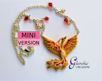 Phoenix necklace handmade in small version, polymer clay