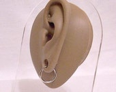"Monet Small 5/8"" Hoops Pierced Earrings Silver Tone Vintage Womens Girls Nickel Free Round Ear Nose Lip Ring Tube Dangles"