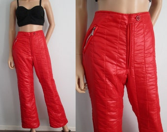 Red ski pants trousers, high waisted, french vintage retro, medium