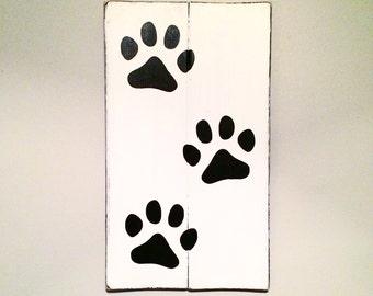 Paw Print Pet Corner Wood Sign | Black on White | Dog Sign | Cat Sign | Pet Decor