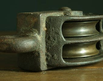 Antique cast Iron & Bronze pulley, Decorative Industrial antique.