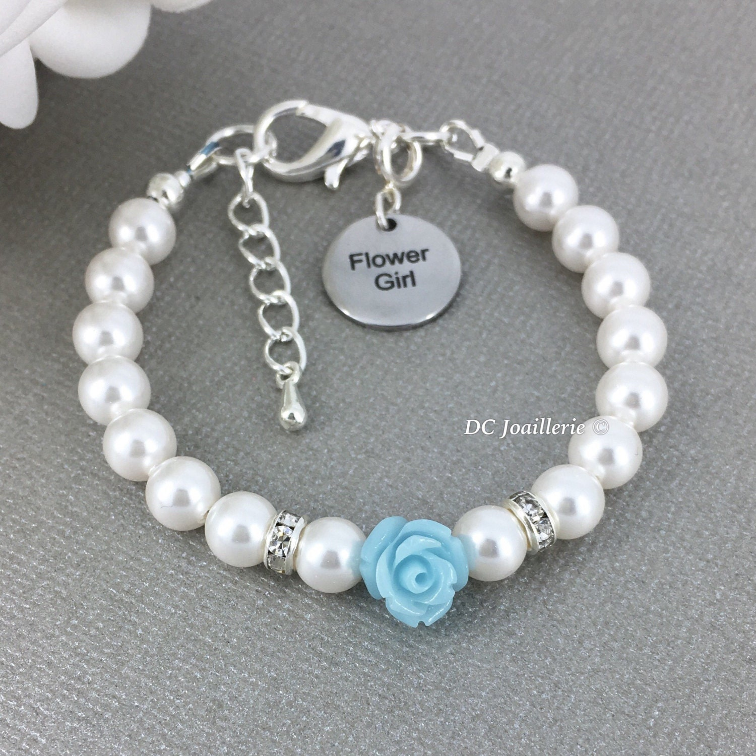 name it pearl jewelry personalize wedding girls pearls your on this girl flowergirl stretch bracelet pin flower with