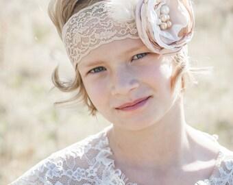 Baby Girl Headband- Baby Headbands- Gold Champagne Headband- Flower Headband- Flower girl Headband- Newborn Headband- Photo Prop- Gold