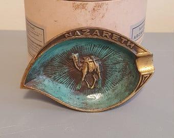 Vintage Nazareth holy land heavy brass ashtray