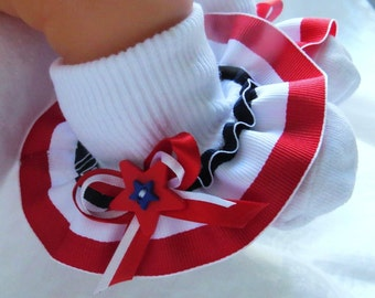 Patriotic Socks Little Girl's Socks Baby Socks Ruffled Socks Toddler Socks 4th of July Socks Girl's Socks Infant Socks red White &Blue Socks