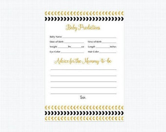 Baby Predictions and Advice Card, Black and Gold Baby Predictions Card, Advice for Mommy to be, Arrows Instant Download Printable