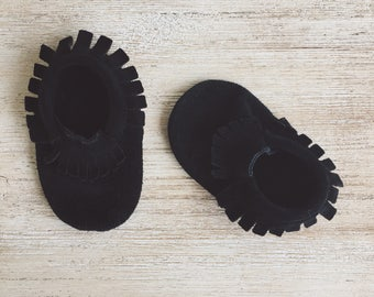 Black Leather Suede Moccasins, Baby Moccasins, Toddler Moccasins, Leather Moccassins