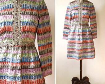 vintage Oscar de La Renta dress <> early 1970s Oscar de La Renta metallic dress <> 70s Oscar de La Renta designer dress in metallic fabric