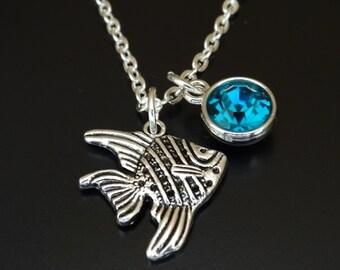 Fish Necklace, Fish Charm, Fish Pendant, Fish Jewelry, Scalare Necklace, Scalare Charm, Scalare Pendant, Scalare Jewelry, Angelfish Charm